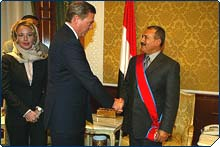 President Ali Abdullah Saleh of Yemen is invested into the Order of Francesco 2